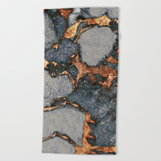 GREY & GOLD GEMSTONE  Beach Towel