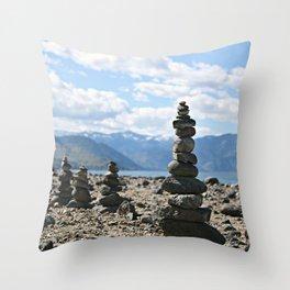 Chelan Rock Stacks Throw Pillow