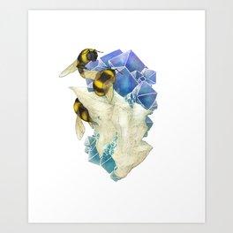 Bees on Fluorite Art Print