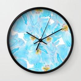 blue poppy pattern Wall Clock