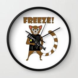Unique & Funny Ringtail Cat Tshirt Design Officer Wall Clock