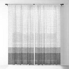 Black and White Graphic Burlap Pattern Stripe Sheer Curtain