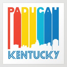 Retro 1970's Style Paducah Kentucky Skyline Art Print