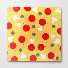 Cool fun pizza pepperoni mushroom Metal Print