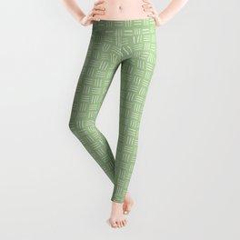 Basket Weave Mudcloth, White on Avocado Green Leggings