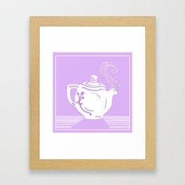 Lavender and White Teapot Printmaking Art Framed Art Print