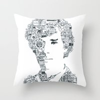 cumberbatch Throw Pillows featuring Benedict Cumberbatch by Ron Goswami