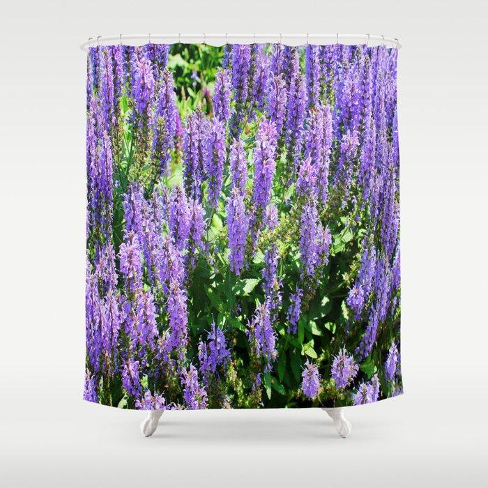 Lavish Purple Flowers Shower Curtain