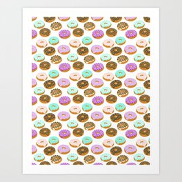 Donuts - junk food treat funny illustration with happy food face doughnuts pastry bakery Art Print