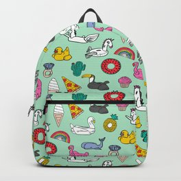Pool floats fun summer holiday pool party pattern Backpack
