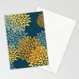Modern Flowers Print, Dark Teal and Yellow Stationery Cards