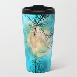 Evening, looking up at bare trees, the moon and starry sky Travel Mug