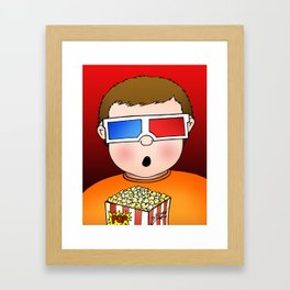3D Popcorn Kid Framed Art Print