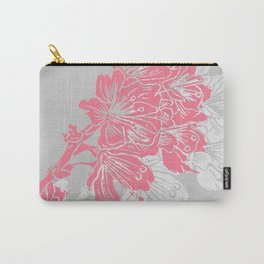 Cherry Blossom Grey Block Print Carry-All Pouch