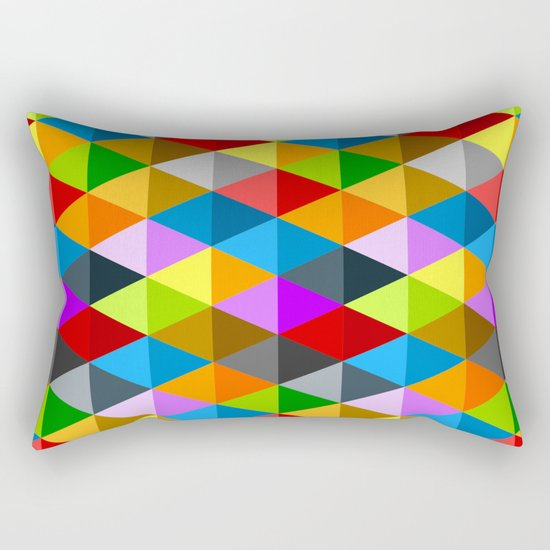 Modern bright funky colorful triangles pattern Rectangular Pillow