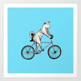 Shiba Inu Riding a Bicycle Art Print