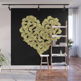Bold gold butterflies in heart shape on black Wall Mural