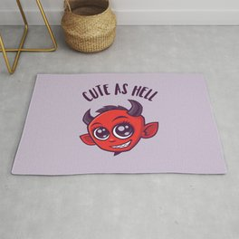 Cute as Hell Devil with Dark Text Rug