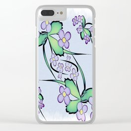 Painterly Violets Clear iPhone Case