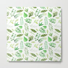 Tropical pastel green hand painted watercolor leaves floral Metal Print