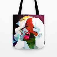 kiss Tote Bags featuring Kiss by Alvaro Tapia Hidalgo
