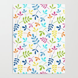 Multicolored Assorted Leaf Silhouette Pattern Poster