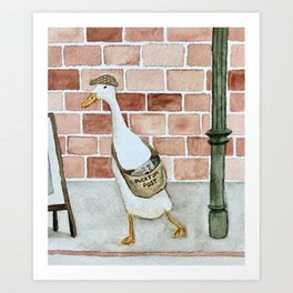 Extra extra, quack all about it Art Print