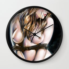 Fetish, Hot bondage, Female tied up with rope, Brown hair woman, Nude art, Naked body, bondage art Wall Clock