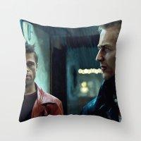 brad pitt Throw Pillows featuring Edward Norton and Brad Pitt by Gabriel T Toro