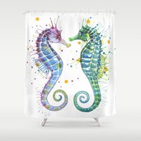 seahorse Shower Curtains featuring Seahorse by Sam Nagel