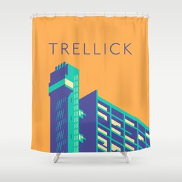 Trellick Tower London Brutalist Architecture - Text Apricot Shower Curtain