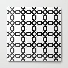 Black Chain Links on White Metal Print