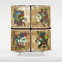mexican Shower Curtains featuring mexican warriors by laika in cosmos