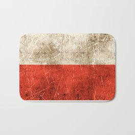 Vintage Aged and Scratched Polish Flag Bath Mat