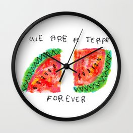 Team Forever Love Quote Couple Watermelon Fruits Wall Clock