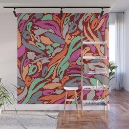 Animal Print Pattern- Earth, mango, neo mint Wall Mural