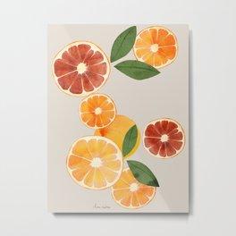 sliced oranges spring watercolor Metal Print