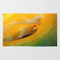 monty python Area & Throw Rugs featuring Albino Python by GardenGnomePhotography