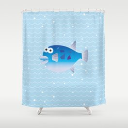 Globefish and Wave Shower Curtain