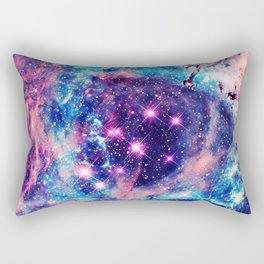Trendy Pastel Pink Blue Nebula Girly Stars Galaxy Rectangular Pillow