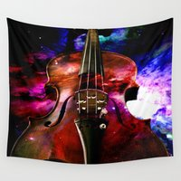 violin Wall Tapestries featuring violin nebula by seb mcnulty
