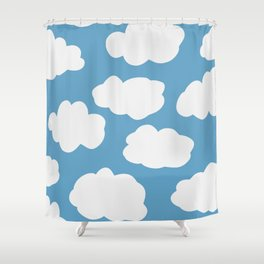 Blue Sky and Fluffy White Clouds Shower Curtain