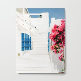 Colorful Blue Gate and White Staircases in Oia Santorini Island Greece Metal Print