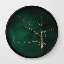Kintsugi Emerald #green #gold #kintsugi #japan #marble #watercolor #abstract Wall Clock
