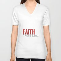 faith V-neck T-shirts featuring FAITH by Shepo