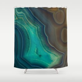 Lake Like Teal & Brown Agate Shower Curtain