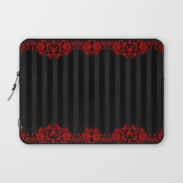 Beautiful Red Damask Lace and Black Stripes Laptop Sleeve
