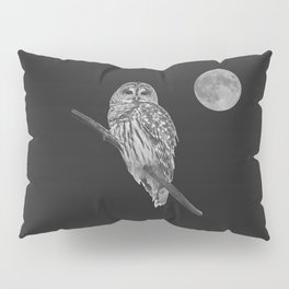 Owl, See the Moon (bw) Pillow Sham