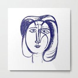 Picasso Woman's head #3 Blue Metal Print
