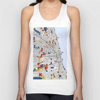 mondrian Tank Tops featuring Chicago Mondrian by Mondrian Maps
